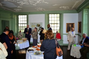 Friends of Philipse Manor Hall Board members talk with guests during the recent concert gala at the historic site.