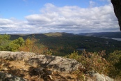 The Appalachian Trail travels nearly 90 miles in New York State. The AT travels through numerous state parks on its journey through the empire state: Sterling Forest, Harriman, Bear Mountain (pictured), Hudson Highlands and Clarence Fahnestock State Parks. Photo: Flickr user palindrome6996.